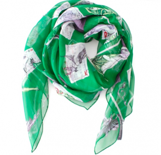 Alexander McQueen Green Silk Playing Card Scarf