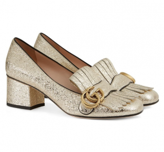Gucci Pale Gold 55mm Marmont Fringe Pumps