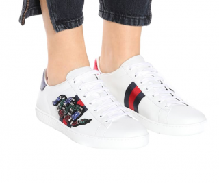 Gucci Crystal Snake Embroidered Ace Sneakers