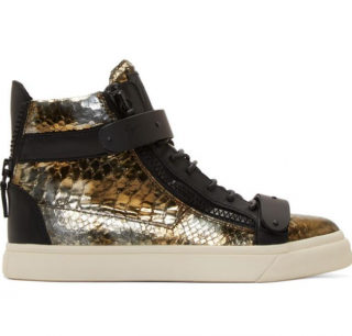 Giuseppe Zanotti Mottled Bronze Snake Embossed High Top Sneakers