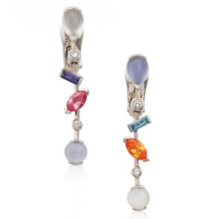 Cartier Platinum Set Gemstone Drop Earrings