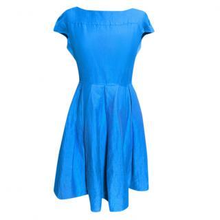 Weekend Max Mara Silk & Linen Blend Sky Blue Skater Dress