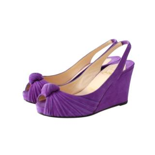 Christian Louboutin Purple Suede Slingback Knot Wedges