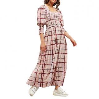 Ganni Pink Shirred Check Midi Dress