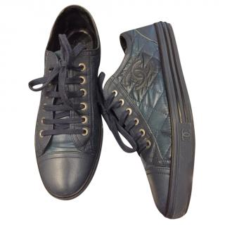 Chanel Navy Blue Quilted Leather Sneakers