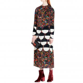 Dries Van Noten Dashi Marble And Geometric-patterned Velvet Dress