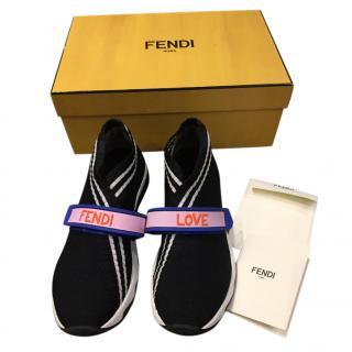 Fendi Black & White Stretch Knit Sneakers