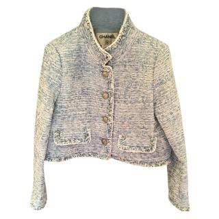 Chanel Blue Tweed High Neck Short Jacket