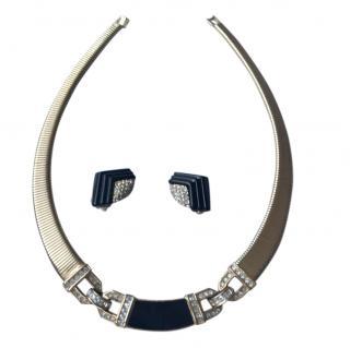 Christian Dior Vintage Art Deco Collar & Earrings
