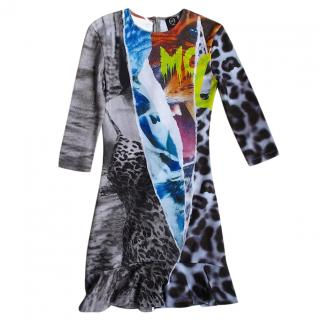 McQ by Alexander McQueen Abstract Animal Print Jersey Dress