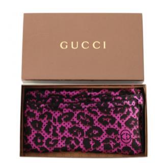 Gucci Pink & Black Leopard Print Silk Scarf