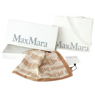 Max Mara Beige Printed Silk Scarf