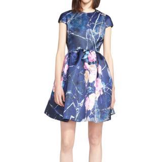 MSGM Marble & Rose Print Duchesse Satin Dress