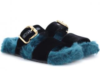Prada Blue Fur And Velvet Sandals