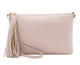 Saint Laurent Teen Monogram Tassel Blush Calfskin Leather Shoulder Bag