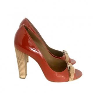 Hermes patent peep toe pumps