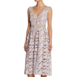 Self-Portrait Lilac Guipure Lace Dress