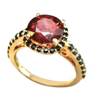 Bespoke Black Diamond & Garnet Yellow Gold RIng