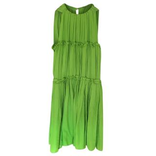 Bottega Veneta Green Pleated Sleeveless Dress