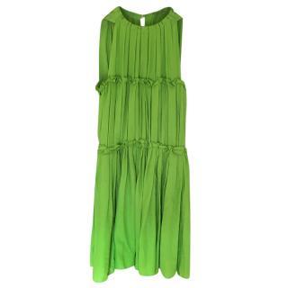 Bottega Veneta Green Pleated Sleeveless Dress