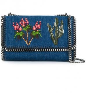 Stella McCartney Denim Embroidered Falabella Shoulder Bag
