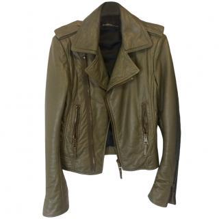 Balenciaga olive green leather biker moto jacket