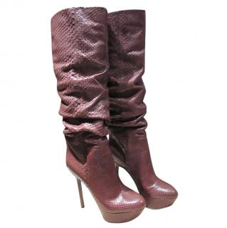 Sergio Rossi Brown Python Slouchy Boots