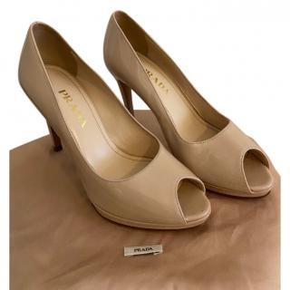 Prada Nude Patent Leather Peep-Toe Pumps