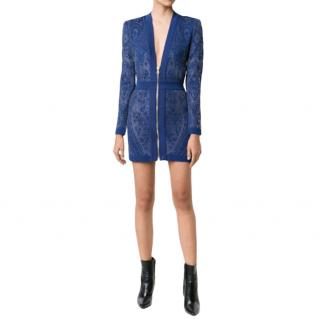 Balmain Blue Floral Stretch Knit Zip Front Dress