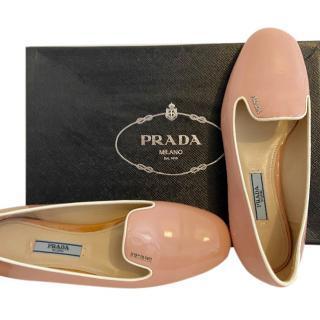 Prada Pink Patent Leather Ballerina Flats