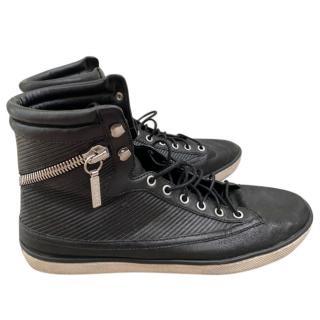 Balmain Black Zip Detailed Leather High Tops
