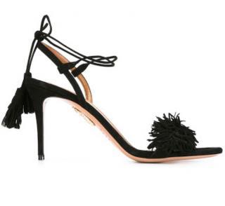 Aquazzura Black Suede Fringed Wild Thing Sandals