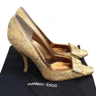 Dolce & Gabbana Gold Brocade Pumps