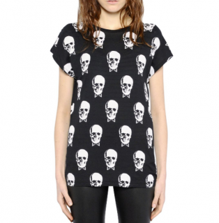Saint Laurent Black & White Skull Print T-Shirt
