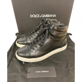 Dolce & Gabbana black leather hightop sneakers