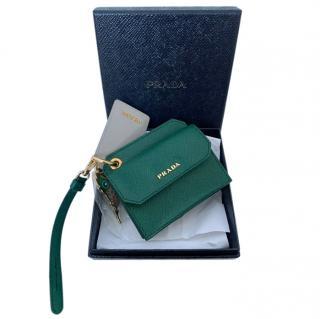 Prada green leather card wallet