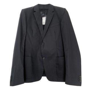 Prada men's navy cotton blend blazer