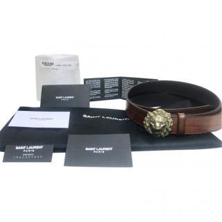 Saint Laurent brown leather Lion buckle belt