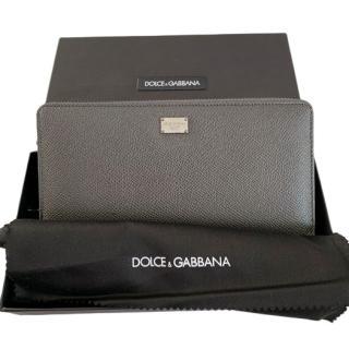Dolce & Gabbana Grey Saffiano Leather Zip-Around Wallet