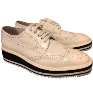 Prada Platform Brogue-Trim Leather Oxfords