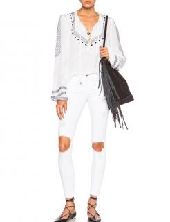 Frame Le Color Destroy Ripped Ankle Skinny Jeans in Blanc