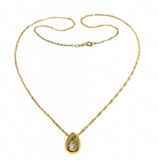 Bespoke teardrop set diamond solitaire pendant