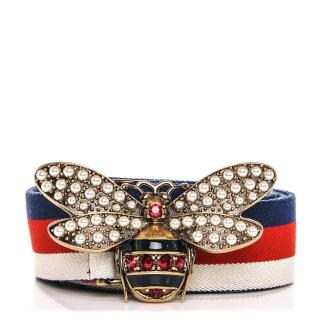 Gucci Sylvie Bee Embroidered Web Belt