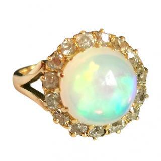 Bespoke Victorian natural 3.7ct cabochon Opal and diamond ring.