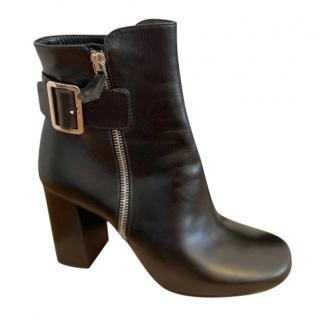 Miu Miu Black Leather Buckle Detail Ankle Boots