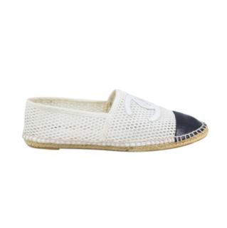 Chanel Black & White Mesh & Leather Espadrilles