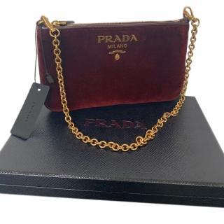 Prada Bordeaux Velvet Chain Shoulder Bag