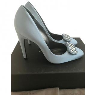 Bottega Veneta Blue Satin Crystal Embellished Pumps