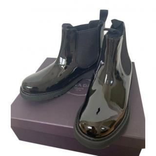 Prada Black Patent Leather Pull-On Ankle Boots