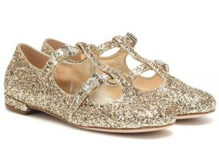Miu Miu Glittery Gold Mary-Jane Ballerinas